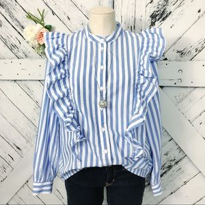 Who What Wear | Ruffle Front Striped Button Down